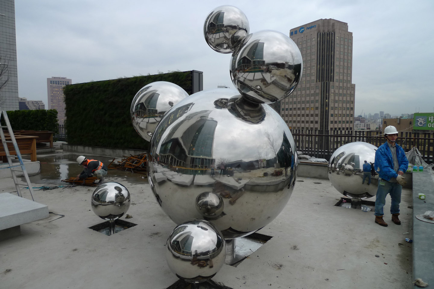 Large Outdoor Abstract Stainless Steel Sphere Sculpture